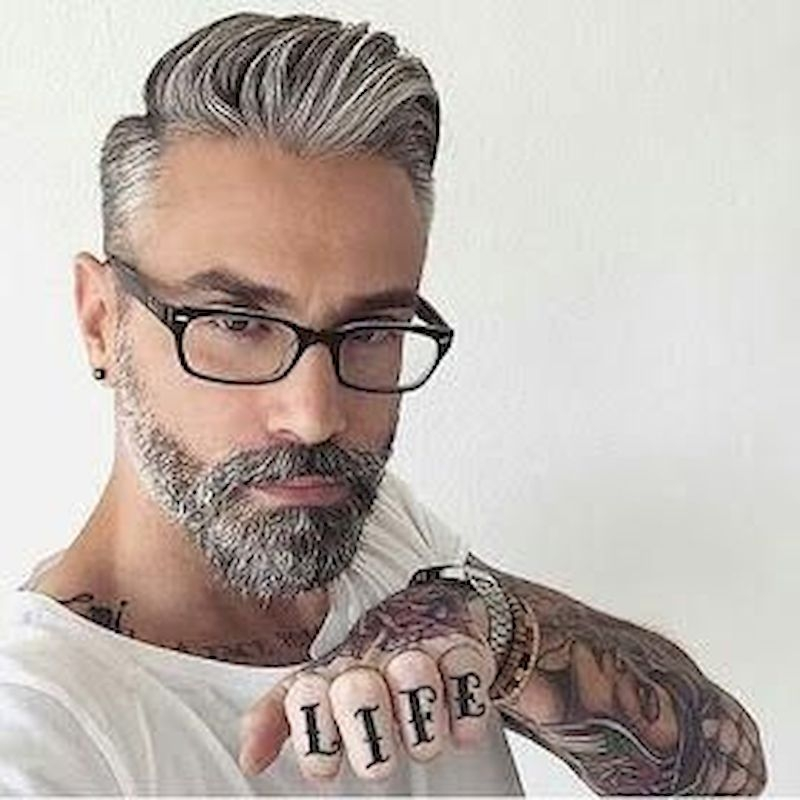 Hairstyles for bald men with long hair back and bearded