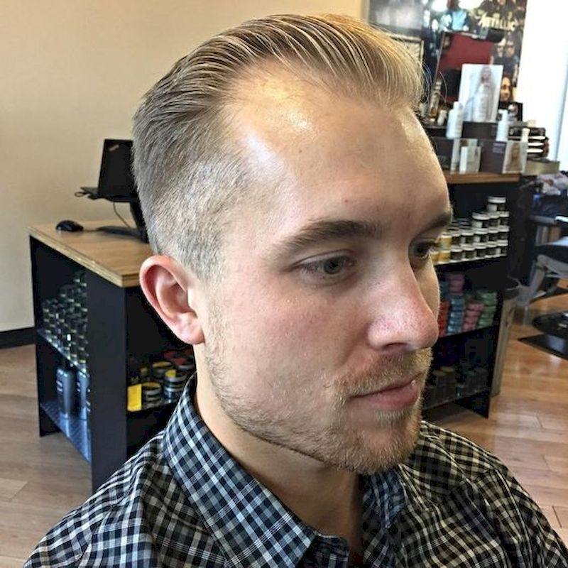Hairstyles for bald men with thin side hair and upper sides combed behind