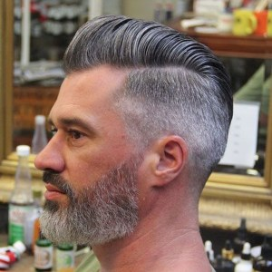 Hairstyles for bald men with thin, bearded sides