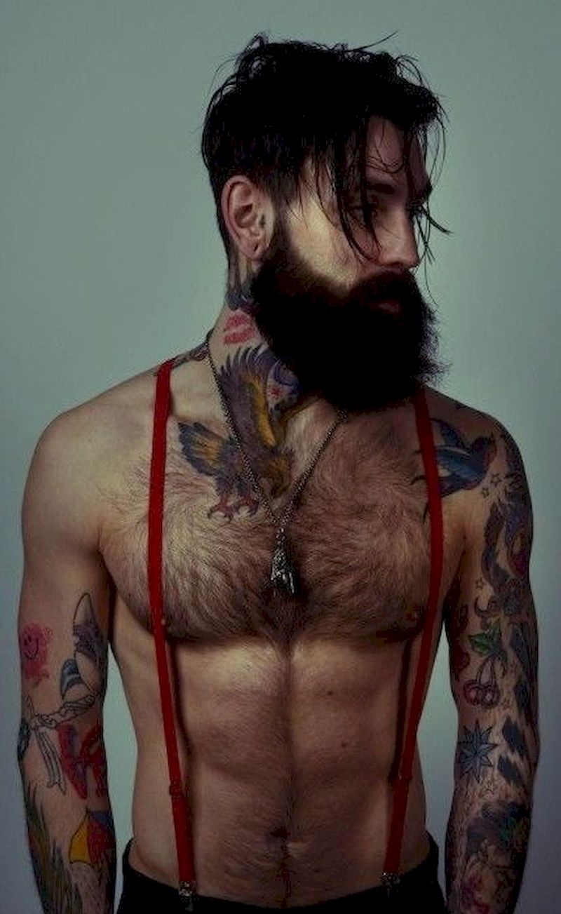 Long beard with tattooed neck