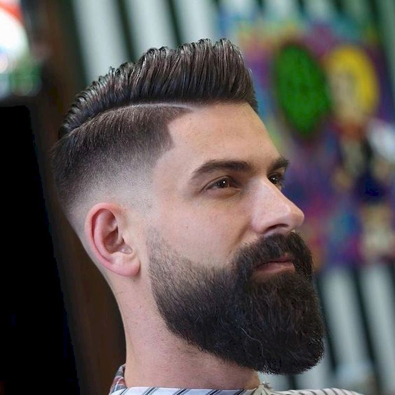 Long beards and striped hairstyles with thin side haircuts