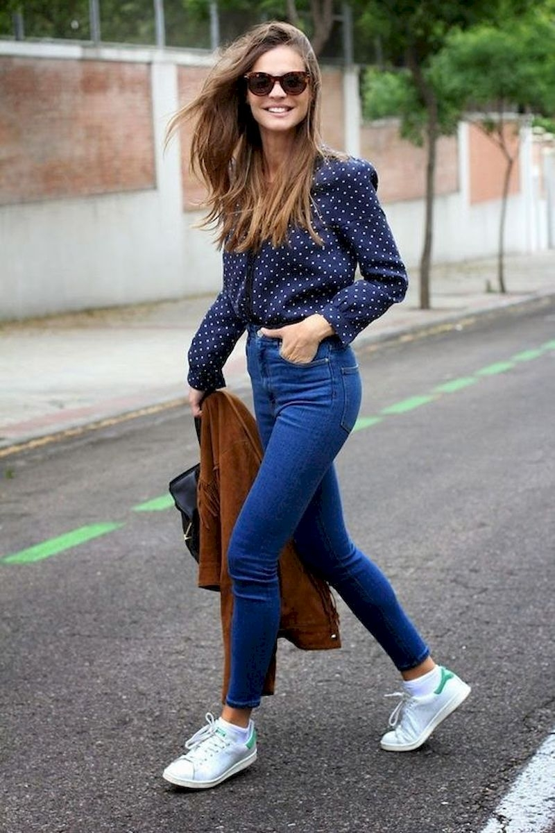 Casual spring outfits with white shoes