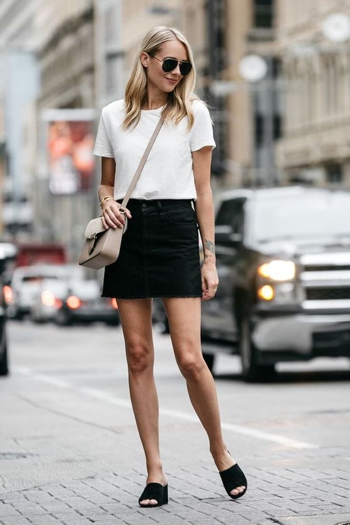 Summer outfit with short skirt