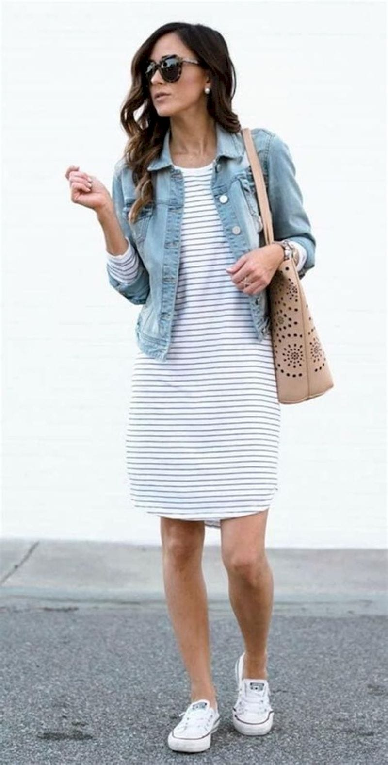 Spring outfit style with striped dress and denim jacket