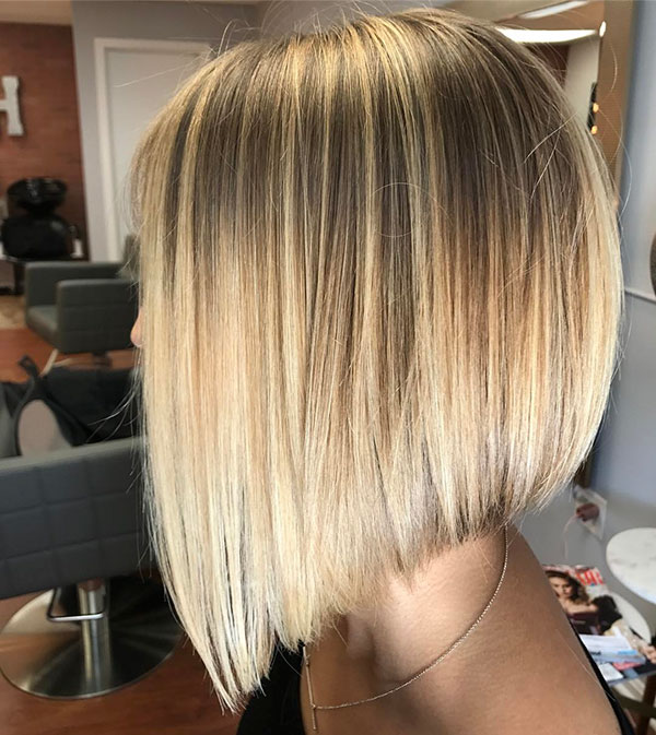 Blonde Balayage Bob Straight Hair