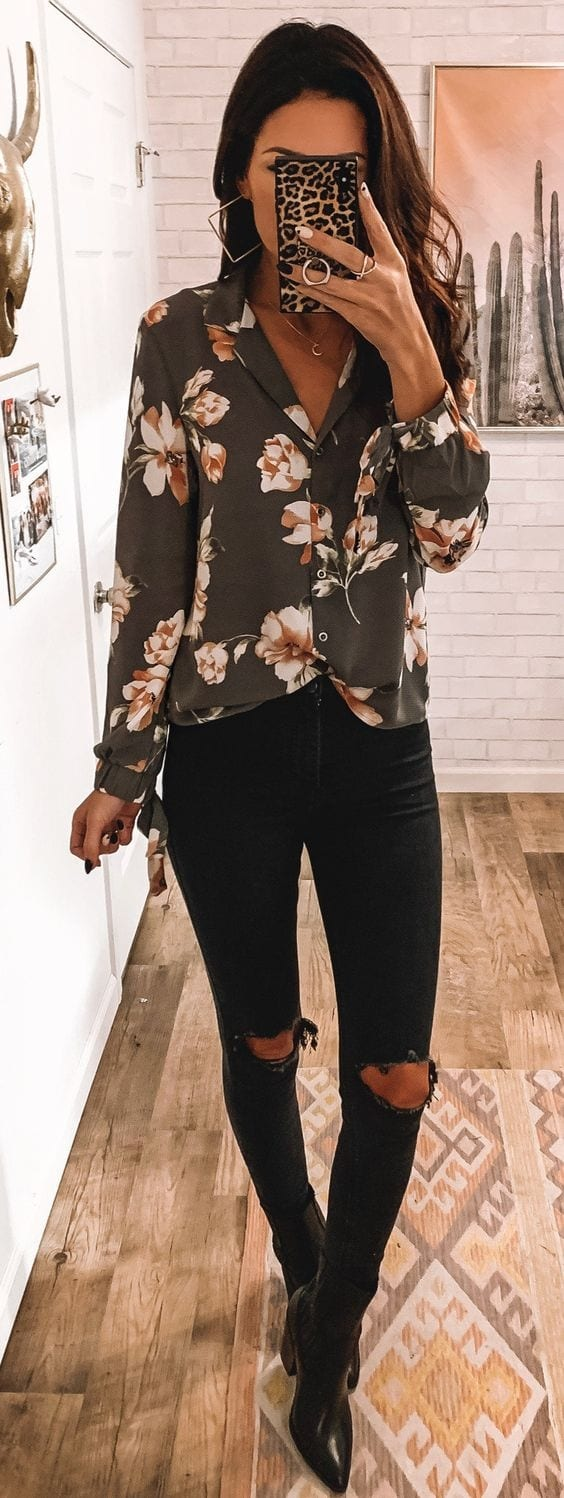 Spring outfit with black jeans