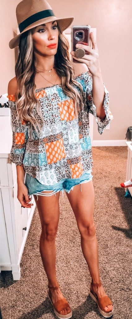 25+ Brilliant Summer Outfits To Copy ASAP - blue and orange tribal print off-shoulder top #summer #outfits #summeroutfits #summerfashion #summerstyle