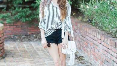Summer outfit with striped shirt