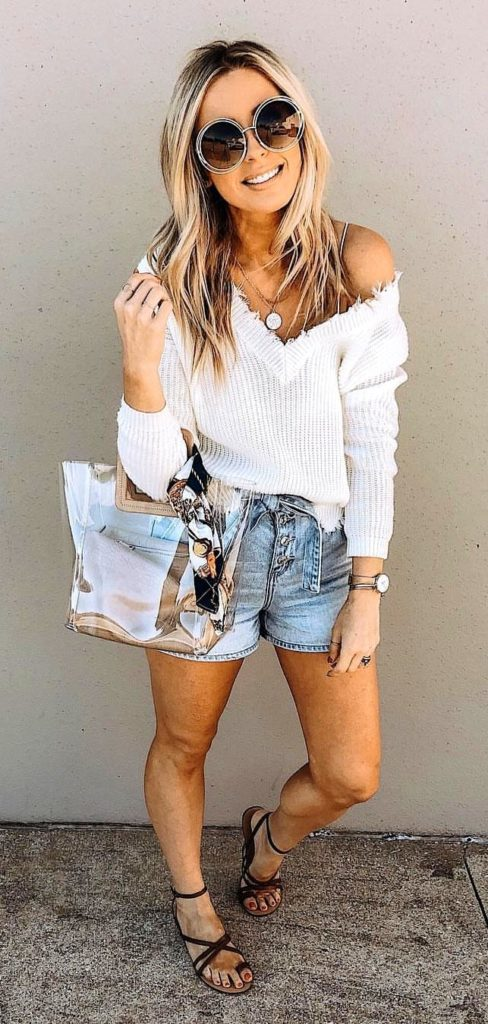 25+ Brilliant Summer Outfits To Copy ASAP - white sweatshirt #summer #outfits #summeroutfits #summerfashion #summerstyle