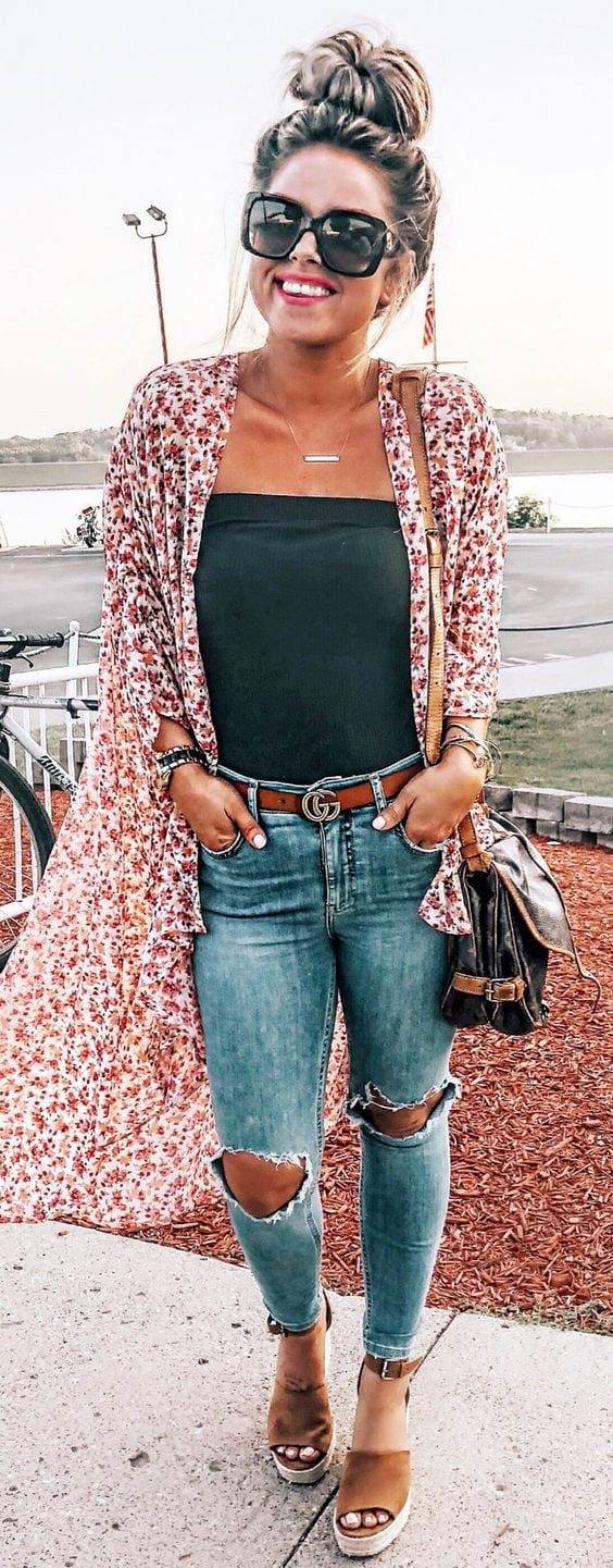Spring outfit with long cardigan