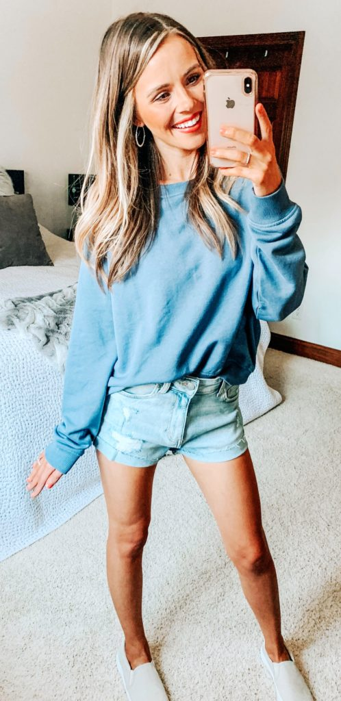 25+ Brilliant Summer Outfits To Copy ASAP - blue sweatshirt #summer #outfits #summeroutfits #summerfashion #summerstyle