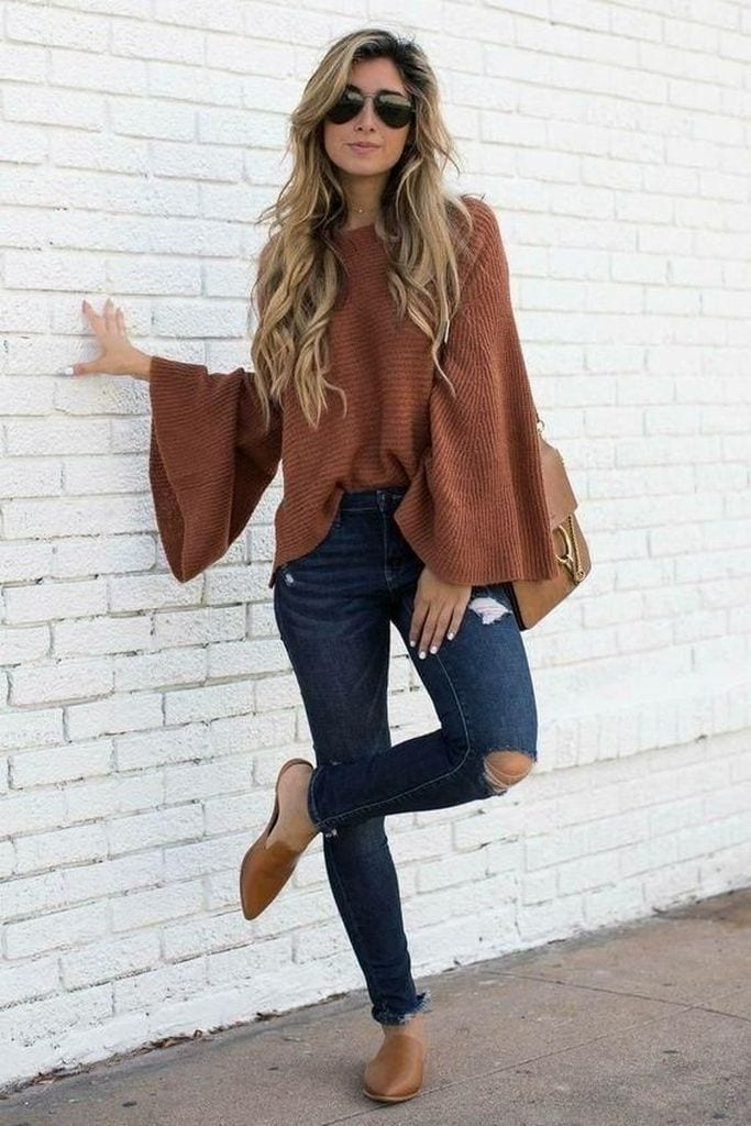 Summer outfit with brown bell sleeve loose knit sweater