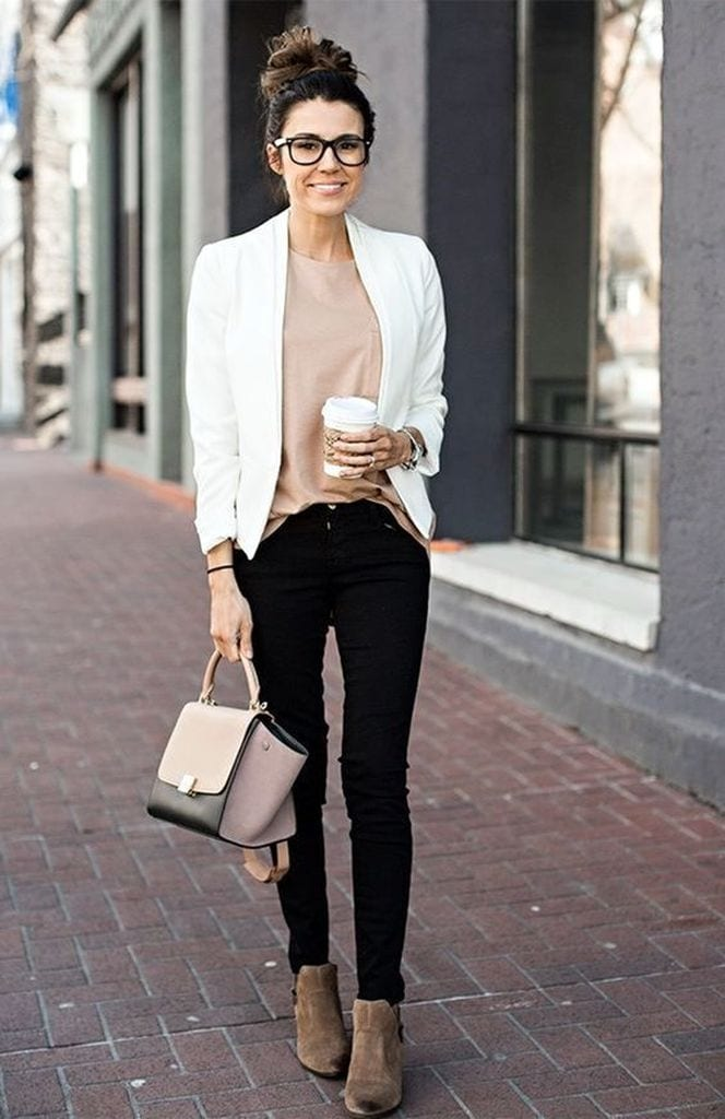 Summer outfit with white blazer