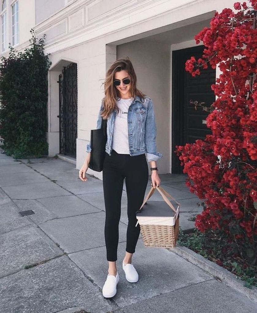 Summer outfit with black skinny jeans