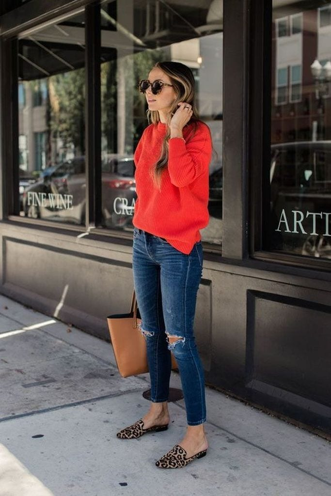 Summer outfit with bold red sweater