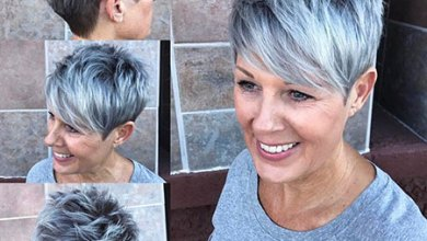Pixie Hairtyle for Over 50, Pixie Gray Spiky Balayage