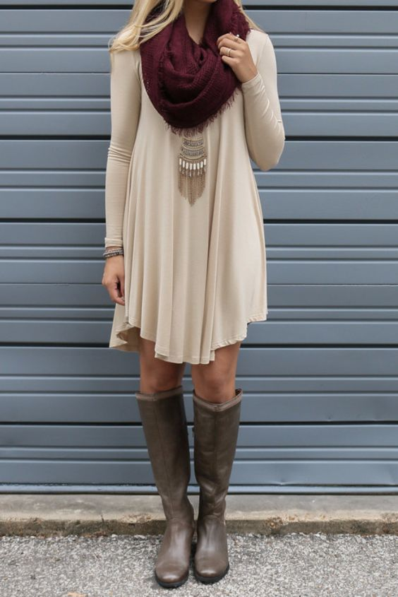 #fall #outfits / Burgundy Scarf - Tall Boots
