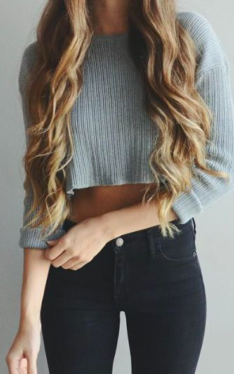 #fall #outfits / Mint Crop Long Sleeve