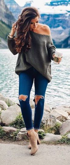 #fall #outfits / Dark Green Off Shoulder Tunic - Heel Booties