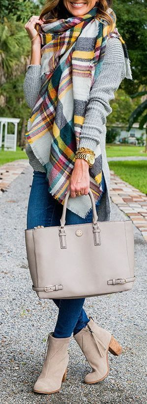 #fall #outfits / Plaid Over Size Scarf - Beige Booties