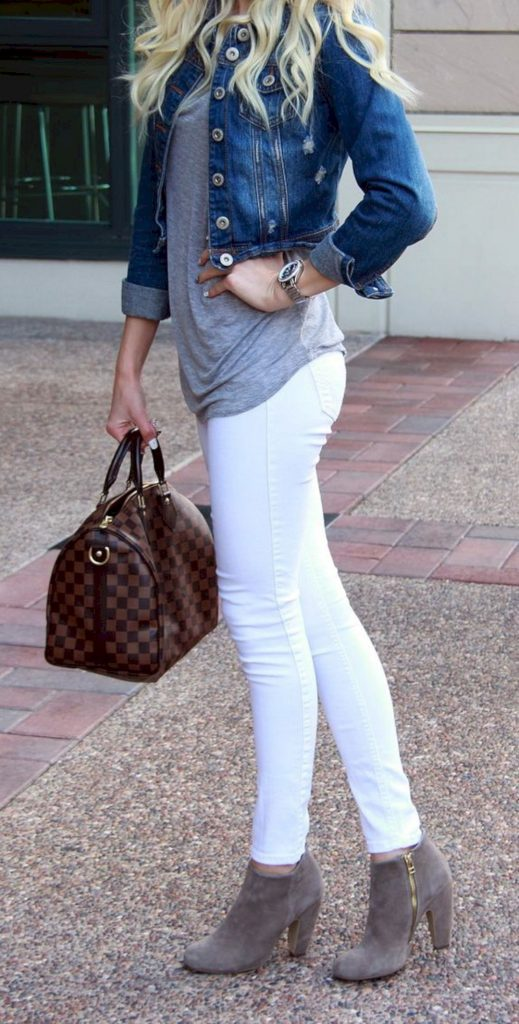#fall #outfits / Denim Jacket - White Jeans