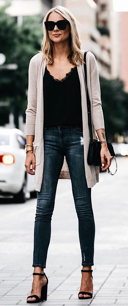 #fall #outfits / Beige Cardigan - Black Camisole
