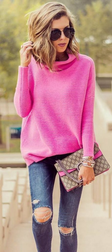 #fall #outfits / Pink Turtle Neck - Denim