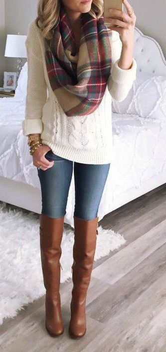 / White Knitted Long Sleeve - Tall Boots