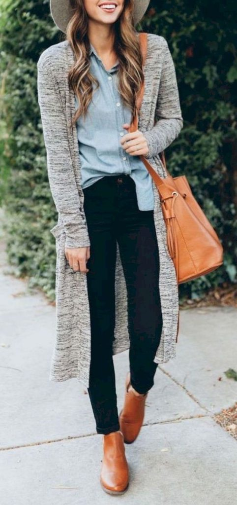 #fall #outfits / Grey Cardigan - Grey Hat