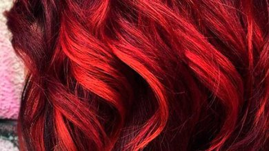Dark Red Hair with Bright Red Highlights, Short Red Trendy Simple