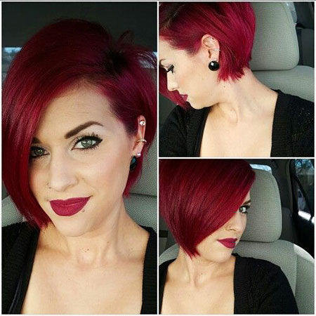 Asymmetrical Haircut, Short Red Pixie Color