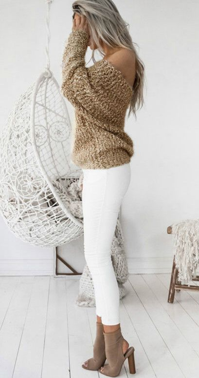 #fall #outfits / Knitted Long Sleeve - White Jeans