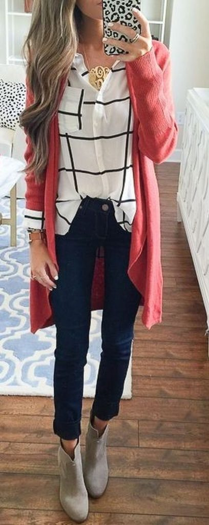 #fall #outfits / Salmon Cardigan - Beige Booties