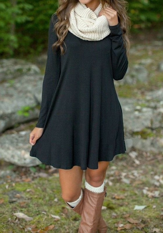 #fall #outfits / Dark Slate Grey Dress - White Scarf