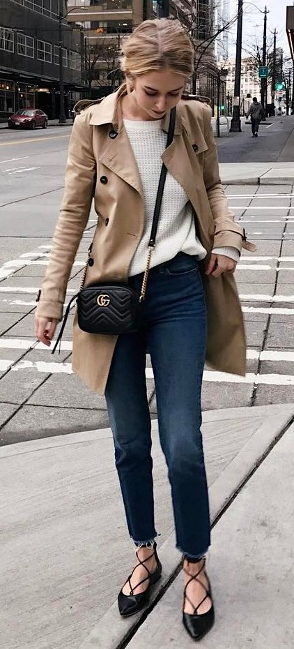 #fall #outfits / Beige Jacket - Black Flats