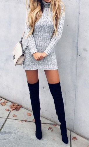 #fall #outfits / Grey Knitted Dress - Black Tall Boots