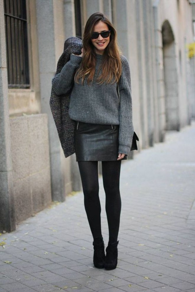 #fall #outfits / Grey Long Sleeve - Black Leather Skirt