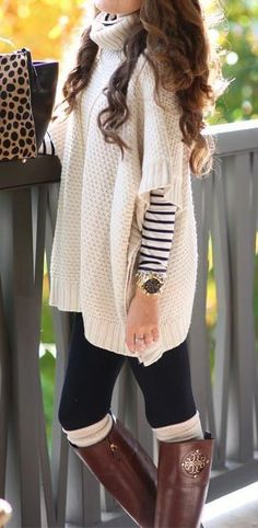 #fall #outfits / Bone White Cashmere Pull Over