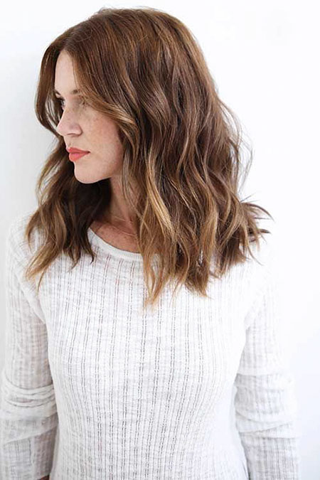 Wavy Medium Length Brown