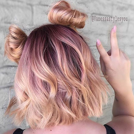 Rose Gold Short Hair, Hair Gold Rose Color