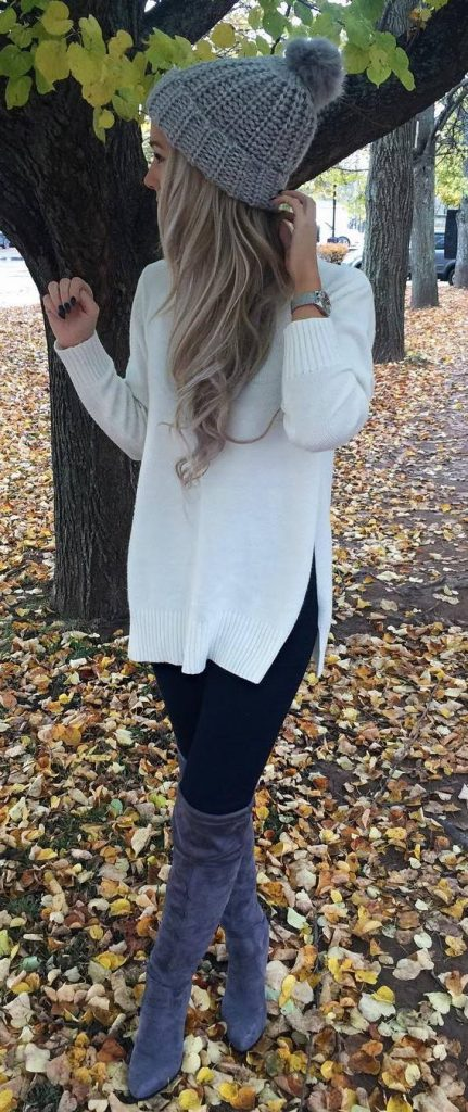 #fall #outfits / Grey Knitted Beanie - White Long Sleeve