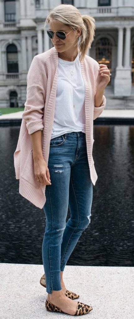 #fall #outfits / Salmon Cardigan - Cheetah Flats