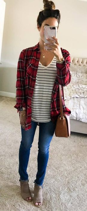 #fall #outfits / Red Plaid Shirt - Ankle Booties