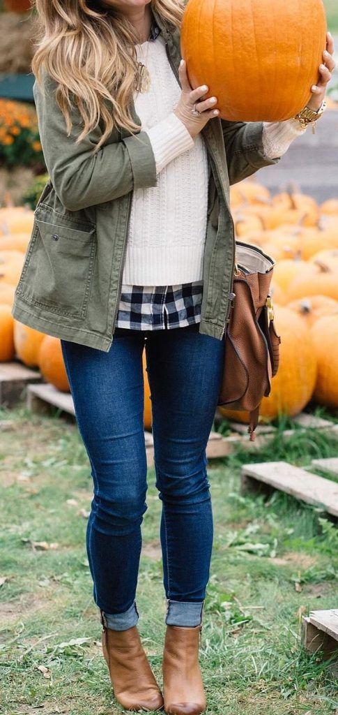 #fall #outfits / Green Olive Jacket - Ankle Booties