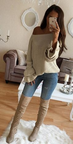 #fall #outfits / White Knitted Off Shoulder - Tall Boots