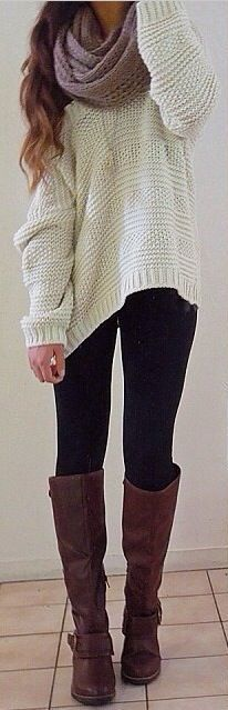 #fall #outfits / White Knitted Long Sleeve - Tall Boots