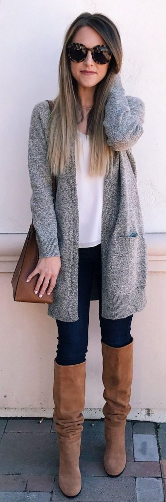 #fall #outfits / Grey Cardigan - Tall Boots