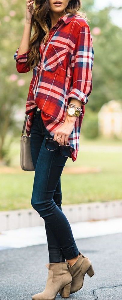#fall #outfits / Red Plaid Shirt - Heel Booties