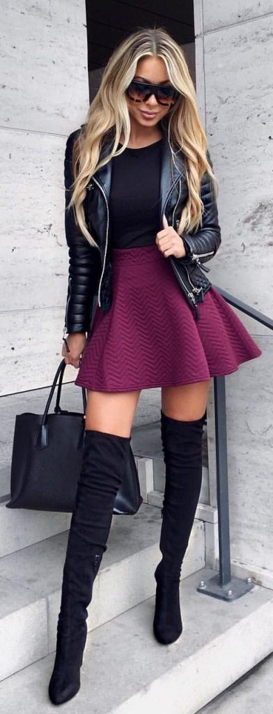 #fall #outfits / Black Leather Jacket - Violet Skirt