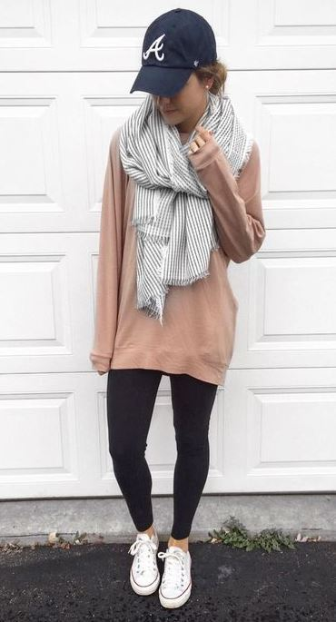 #fall #outfits / Stripes Scarf - Beige Long Sleeve